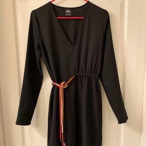 Zara Black Long Sleeve V Neck Belt Dress New